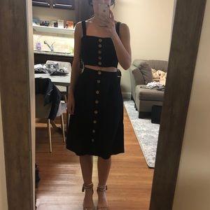 Lulu's 'Sweet as Ever' Black Two-Piece Midi Dress